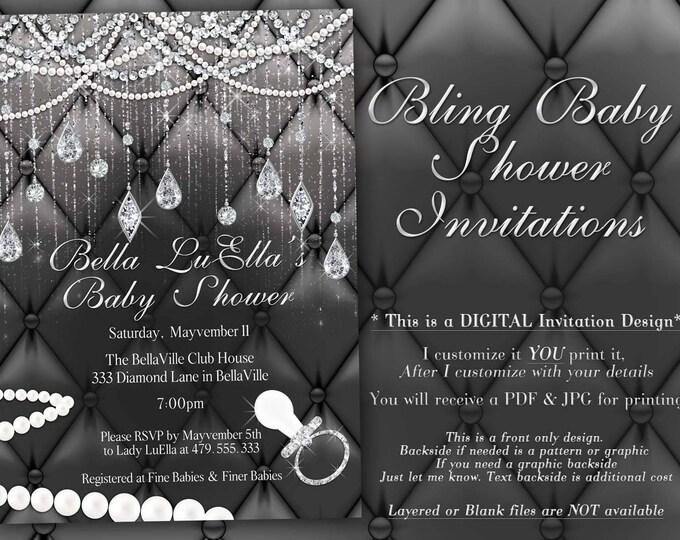 Diamond Baby Shower Invitation, Baby Shower Bling, Bling Baby Showers
