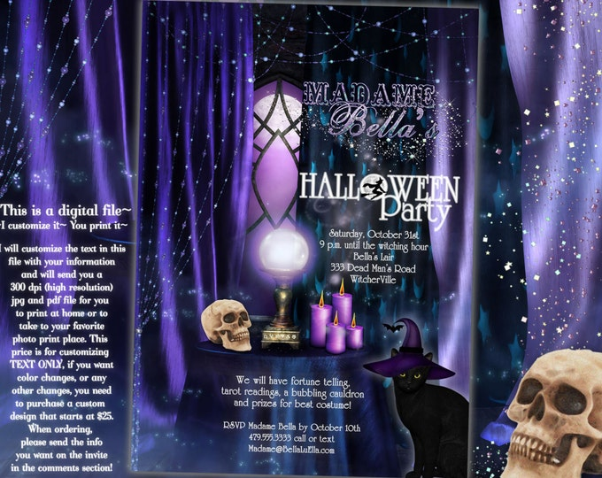Halloween Party, Halloween Invitations, Halloween Party Invites, Fortune Telling Invites