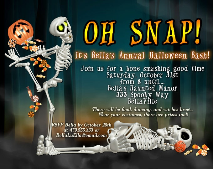 Halloween Party Invitation, Halloween Skeleton Invitation