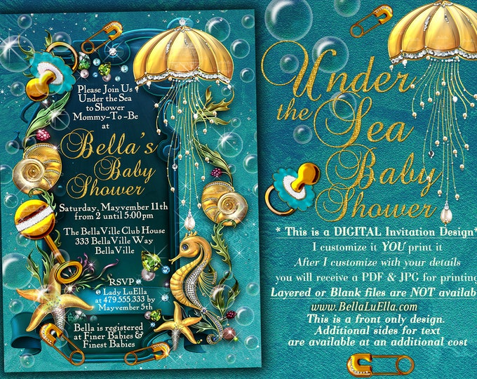 Under the Sea Baby Shower Invitation, Enchanted Seas Shower, Baby Shower Invitation, Seahorse Seashell Starfish Baby Shower, Gold Blue