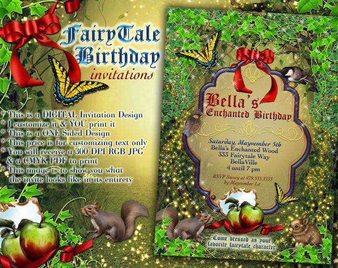 Fairytale Party Invitations, Snow White Inspired Invitations, Storybook Fantasy Party Invitations, Girls Party Invitations