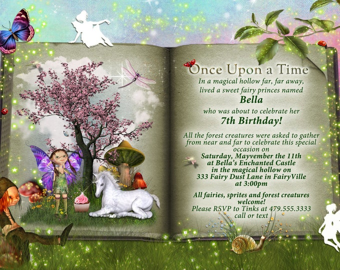Storybook Party, Fairytale Party Invitations, Storybook Fantasy Party Invitations,