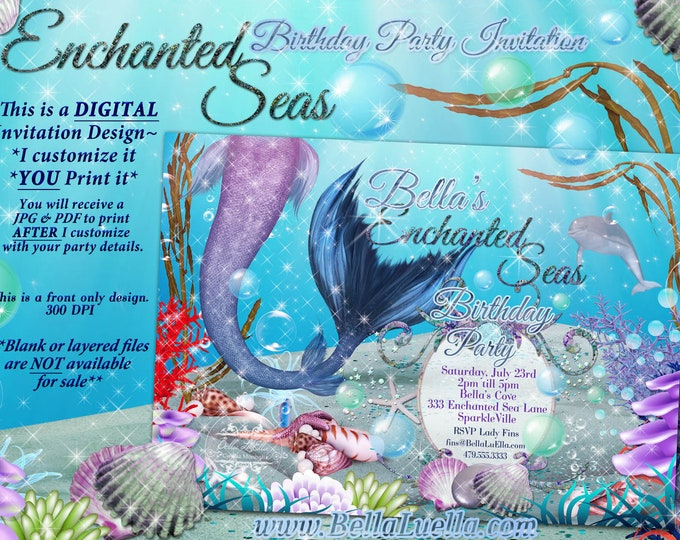 Mermaid Invitations, Mermaid Party, Mermaid Pool Party, Under the Sea Mermaid Dolphin Shell
