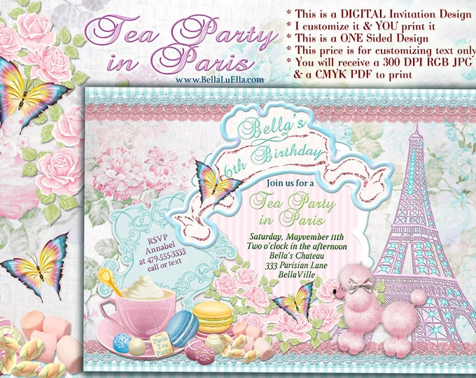 Pink Poodle Paris Tea Party, Paris Poodle Tea Party Invitations, Girls Paris Tea Party Invitation