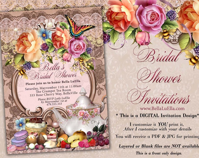 Tea Party Invitation, Bridal Tea Party, Garden Tea Party, Bridal Tea Shower, Mothers Day Tea Party, Bridal Shower Tea, Garden Party