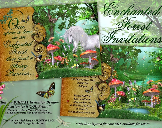 Unicorn Enchanted Forest Party, Enchanted Wood Invitation, Unicorn Woodland Party
