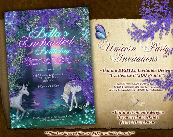 Unicorn Party, Unicorn Party Invitation, Birthday Party Invitations, Unicorn Forest Party