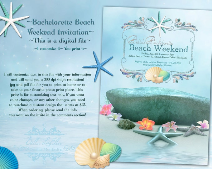 Beach Party Invitation, Beach Weekend, Summer Invitations, Beach Invitations