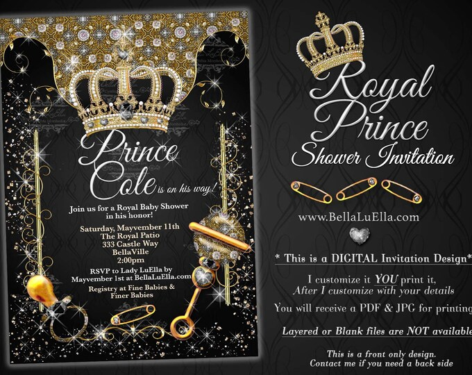 Royal Prince Baby Shower Invitation, Boy Baby Shower, Royal Black Crown Prince Baby Announcement, Boy Bling Baby Shower, Gold Black Silver