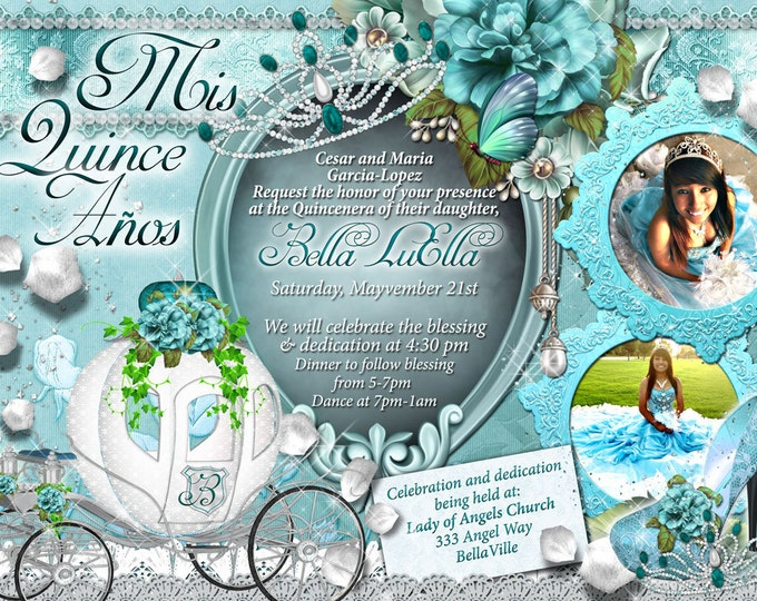 Mis Quince Anos, CinderBella Carriage Invitation, Princess Party, Princess Carriage Invitation, Princess Birthday Party