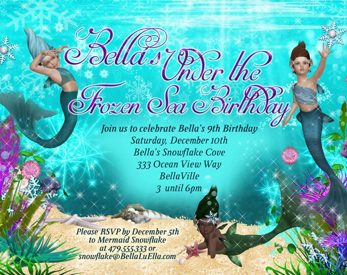 Snowflake Mermaid Party, Frozen Mermaid Party, Mermaid Snowflake Invitation