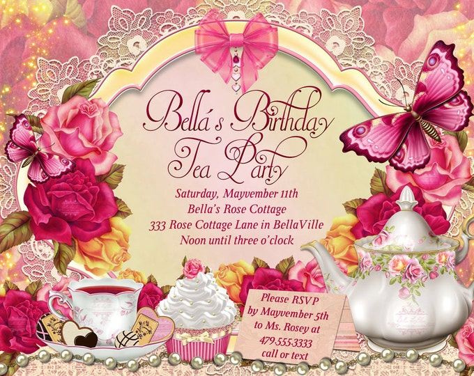 Tea Party Invitation, Birthday Tea Party, Tea Party, Garden Tea Party, Party Invitations, Pink Roses Tea Party