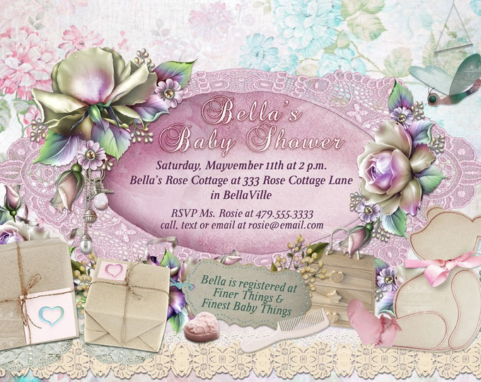Baby Shower Invitation, Baby Girl Shower, Shower Invitations, Party Invitations