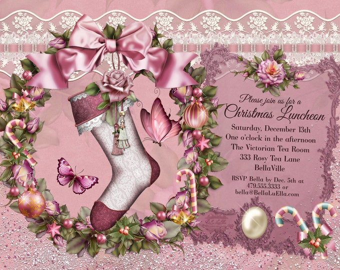 Christmas Luncheon Invitation, Victorian Christmas Card, Ladies Christmas Luncheon, Christmas Cards, Holiday Party Invitations