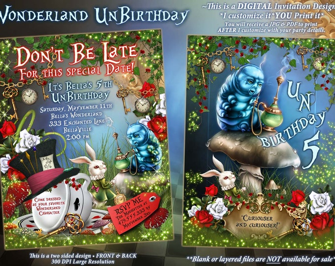 WonderLand Birthday Party Invitation, Wonderland Tea Party Invitation, UnBirthday Party, Madhatter Tea Party