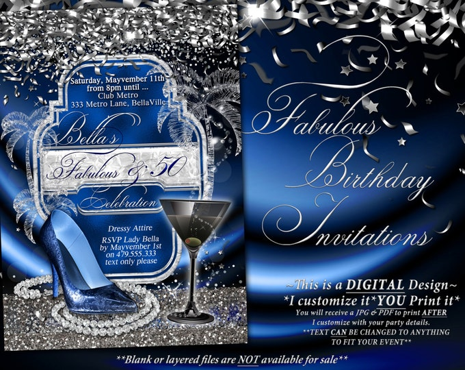 Fabulous and Fifty Party Invitations, Diva Birthday, Birthday Invitations, Fabulous and Forty, Girls Night Out Invites