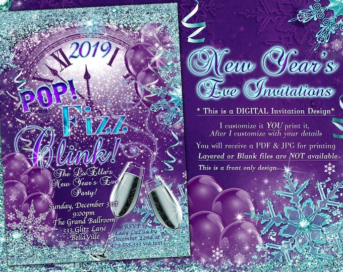 New Years Eve Party Invitation, Sparkling New Years Eve Party, POP Fizz Clink Party, Snowflake New Years