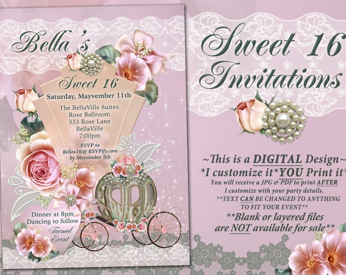 CinderBella Carriage Invitation, Princess Party, Princess Carriage Invitation, Princess Birthday Party