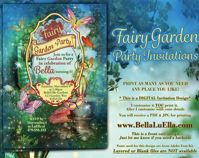 Fairy Garden Birthday Party, Fairy Forest Party, Girls Fairy Birthday, Enchanted Garden Party Invitation, Fairytale Forest Party Invitation