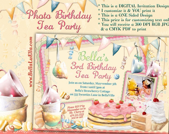 Tea Candy Photo Birthday Invitation, Birthday Photo Invitation, Birthday Party Invitations, Girls Tea Party, Sweeties Pastries Tea Party