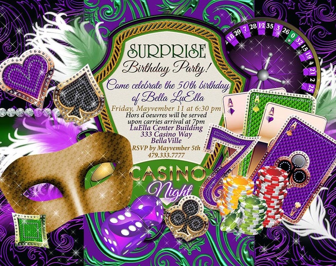 Casino Night Invitations, Masquerade Casino Party, Casino Mardi Gras Invitations, Casino Royale, Las Vegas Party