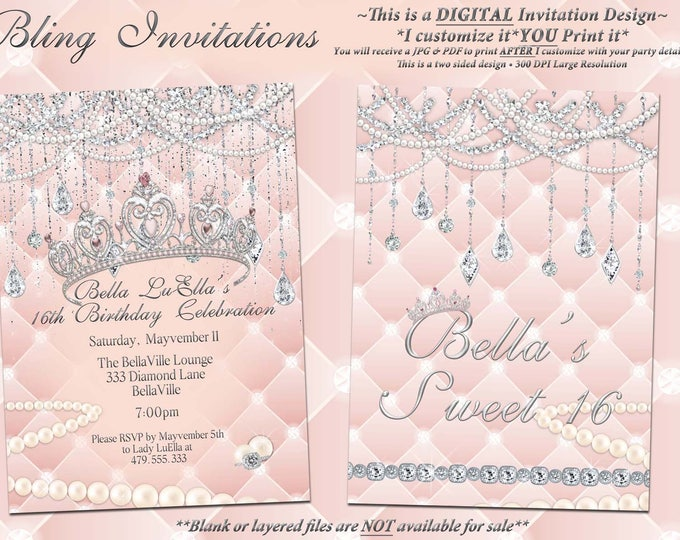 Diamond and Pearl Invitation, Birthday, Sweet 16 Invitation, Quinceanera, Bling Party Invitations