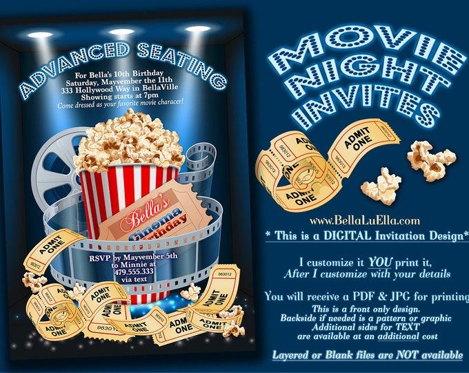 Movie Viewing Party, Movie Theatre Invitation, Movie Birthday Party, Movie Night Invitation, Popcorn Night, Theatre Showing Birthday