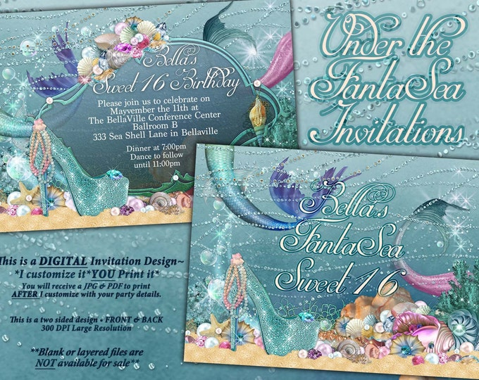 Mermaid, Mermaid Invitations, Mermaid Party, Under the Sea Invitations, Sweet 16, Mis Quince Anos