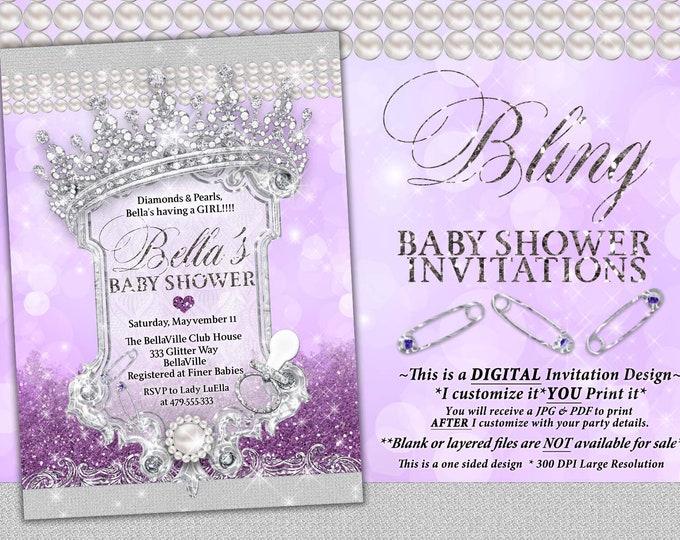 Royal Princess Baby Shower Invitation, Baby Shower Bling, Purple Glitter Princess Baby, Baby Showers, Purple Diamond Glitter Baby Shower