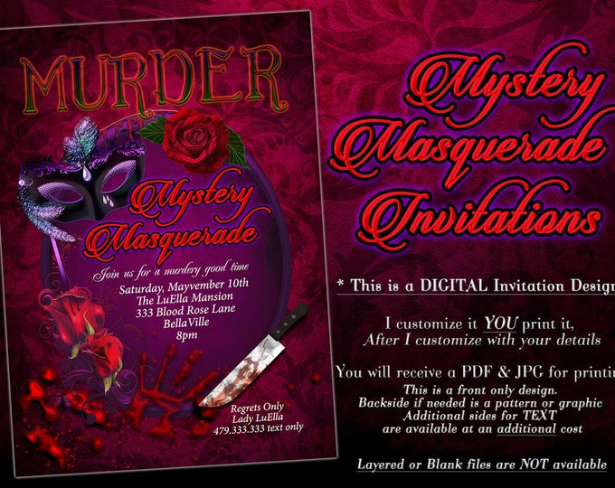 Masquerade Murder Mystery Party Invitation