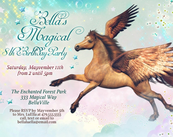 Pegasus Party, Horse Birthday Party Invitation, Pegasus Invitations, Party Invitations, Birthday Party Invitation