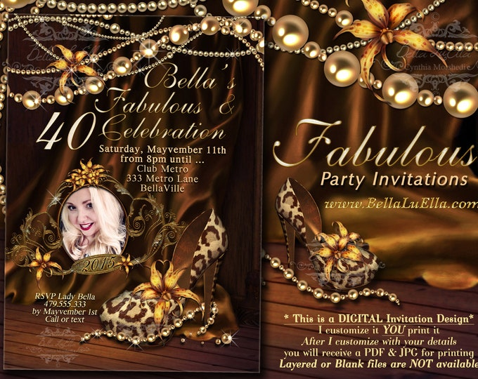 Photo Fabulous and Forty Party Invitations, Photo Diva Birthday, Birthday Invitations, Fabulous and Forty, Leopard Print, Gold Pearls