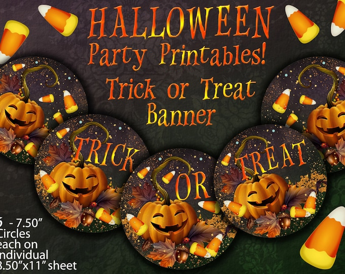 Halloween Banner, Trick or Treat Banner, Printable Halloween Banner, Party Printable Banner, Halloween Party Printables