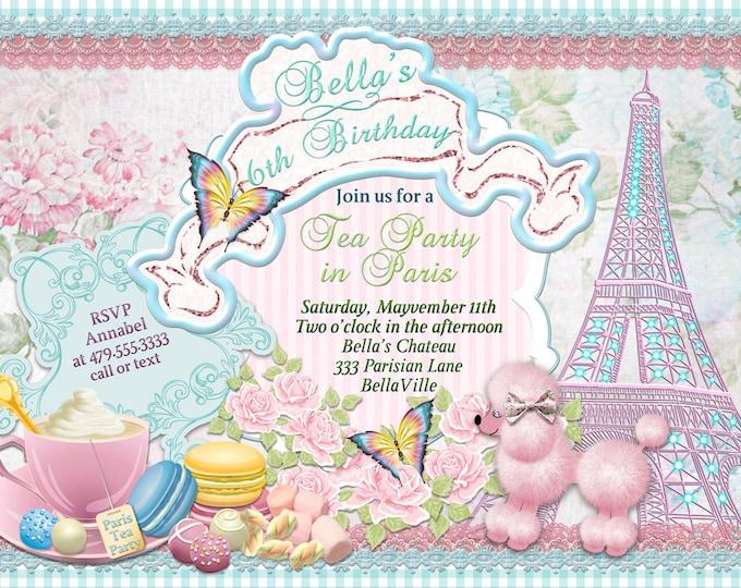 Pink Poodle Paris Tea Party, Paris Poodle Tea Party Invitations