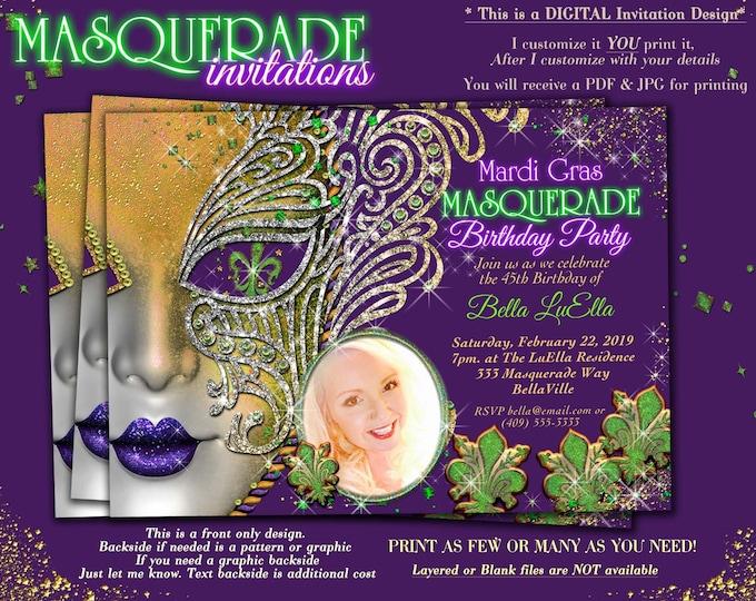 Photo Masquerade Party Invitation, Quinceanera Masquerade Invitation, Mardi Gras Birthday Party Invitation, Photo Masquerade Invitation
