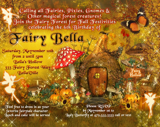 Fairy Invitation, Fall Fairy Party Invitation, Birthday Party Invitations, Fall Fairy Garden Party, Whimsical Invitations