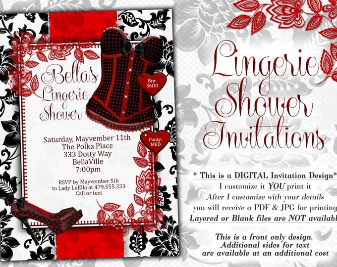Red White Black Lingerie Shower Invitation, Bachelorette Party, Bridal Shower, Party Invitations, Corset Invitations, Burlesque Invitations