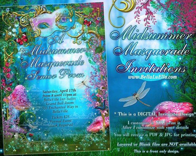 Midsummer Masquerade Party Invitation, Prom Invitations, Mis Quince Party Invitations, Masquerade Invitation, Midsummers Evening, Mis Quince