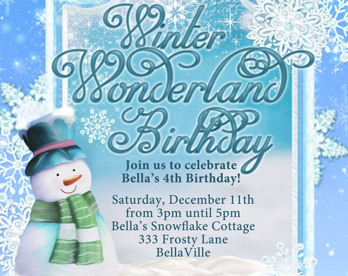 Snowman Holiday Invitation, Frozen Snowman Invite, Holiday Party, Christmas Party Invitations, Christmas Card, Holiday Card, Christmas Party