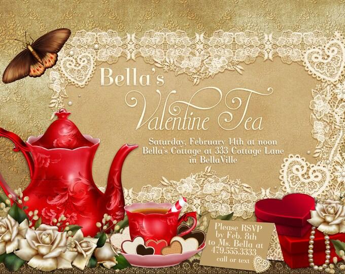 Birthday Tea Party, Valentine Tea Party Invitation, Valentines Day Party, Tea Party Invitations, Red Heart Tea Party