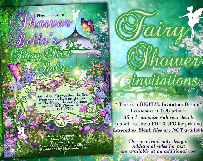 Fairy Theme Baby Shower, Fairy Baby Shower Invitations, Baby Shower Invitations
