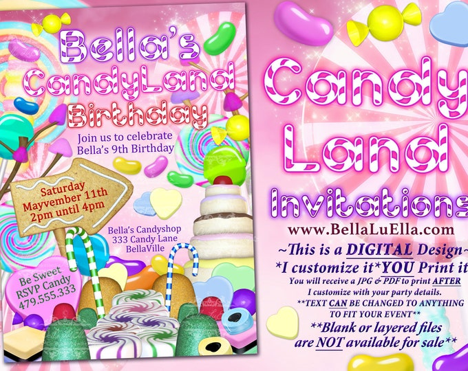 CandyLand Birthday Party Invitation, Candies, Birthday Candy Land Invitation, Sweets Lollies Candy, Jellybeans, Sweets Party