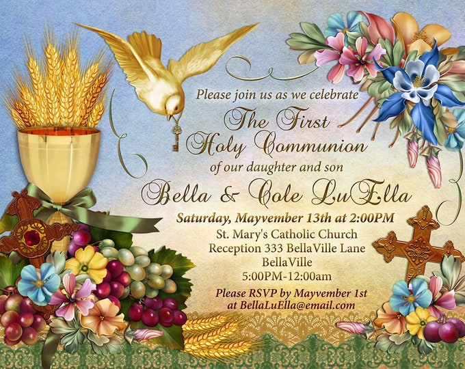 Holy First Communion, Girls First Communion Invitation, First Communion Announcement