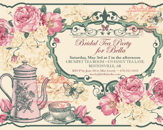 Tea Party Invitation, Bridal Tea Party, Garden Tea Party, Birthday Tea Party Invitations, Vintage Tea Party