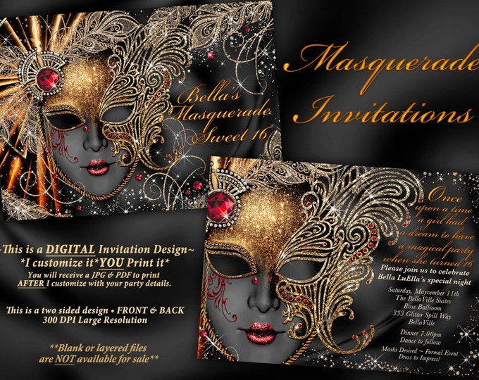 Sweet 16 Masquerade Party, Masquerade Party Invitation, Mardi Gras Party, Mis Quince Anos, Mask Party Invitation