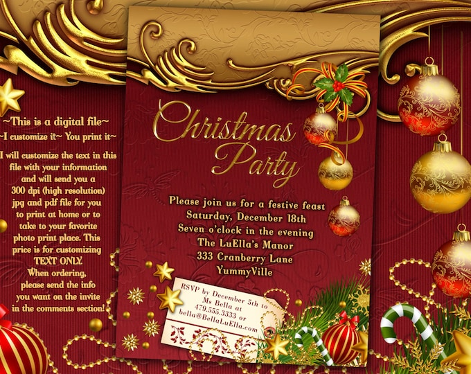 Christmas Party Invitations, Christmas Card, Christmas Dinner Card, Holiday Card, Christmas Party
