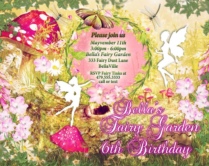 Fairy Garden Party Invitation, Fairy Invitations, Birthday Invitations, Shower Invitations, Pink Yellow Mushroom Fairy Springtime