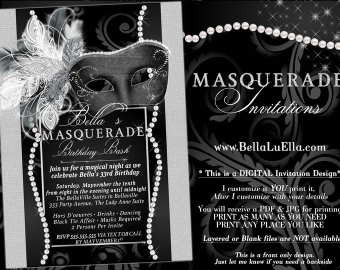 Masquerade Party Invitation, Black White Ball Invitation, Mis Quince Anos, Sweet 16 Party, Anniversary Dinner, Pearls Bling Masked Ball