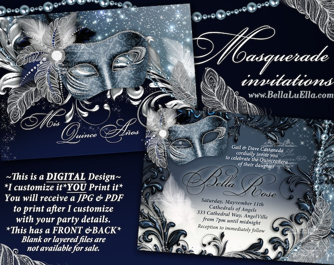 Masquerade Party Invitation, Mardi Gras Party, Mis Quince Anos, Masquerade Sweet 16, Blue Silver Masquerade Party Invitation, Pearls Feather