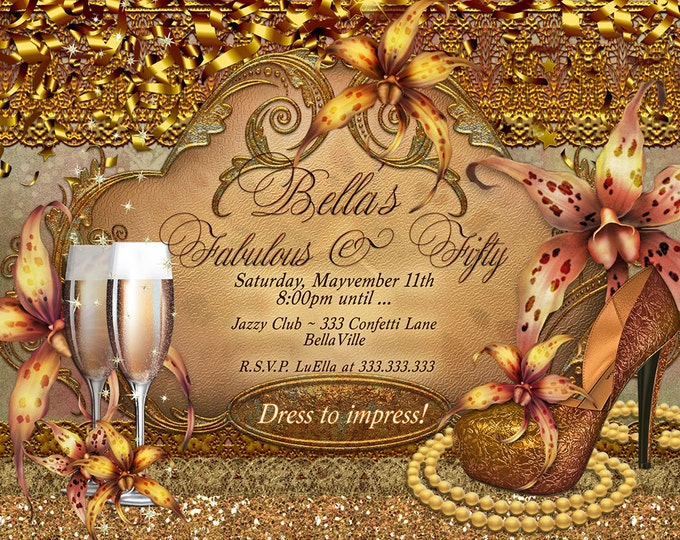 Fabulous and Fifty Party Invitations, Diva Birthday, Birthday Invitations, Fabulous and Forty, Girls Night Out Invites, Gold Tiger Lily